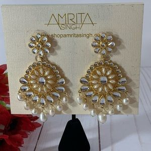 Amrita Singh Gold Tone Pearl Statement Earrings
